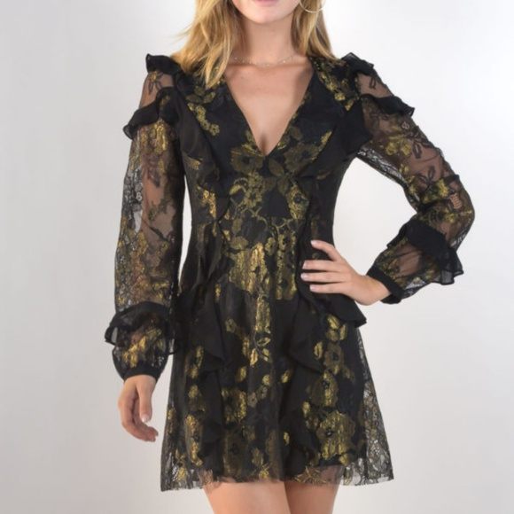 67e8ec6786f FFL BUMBLE LONG SLEEVE RUFFLE DRESS. NWT. For Love And Lemons